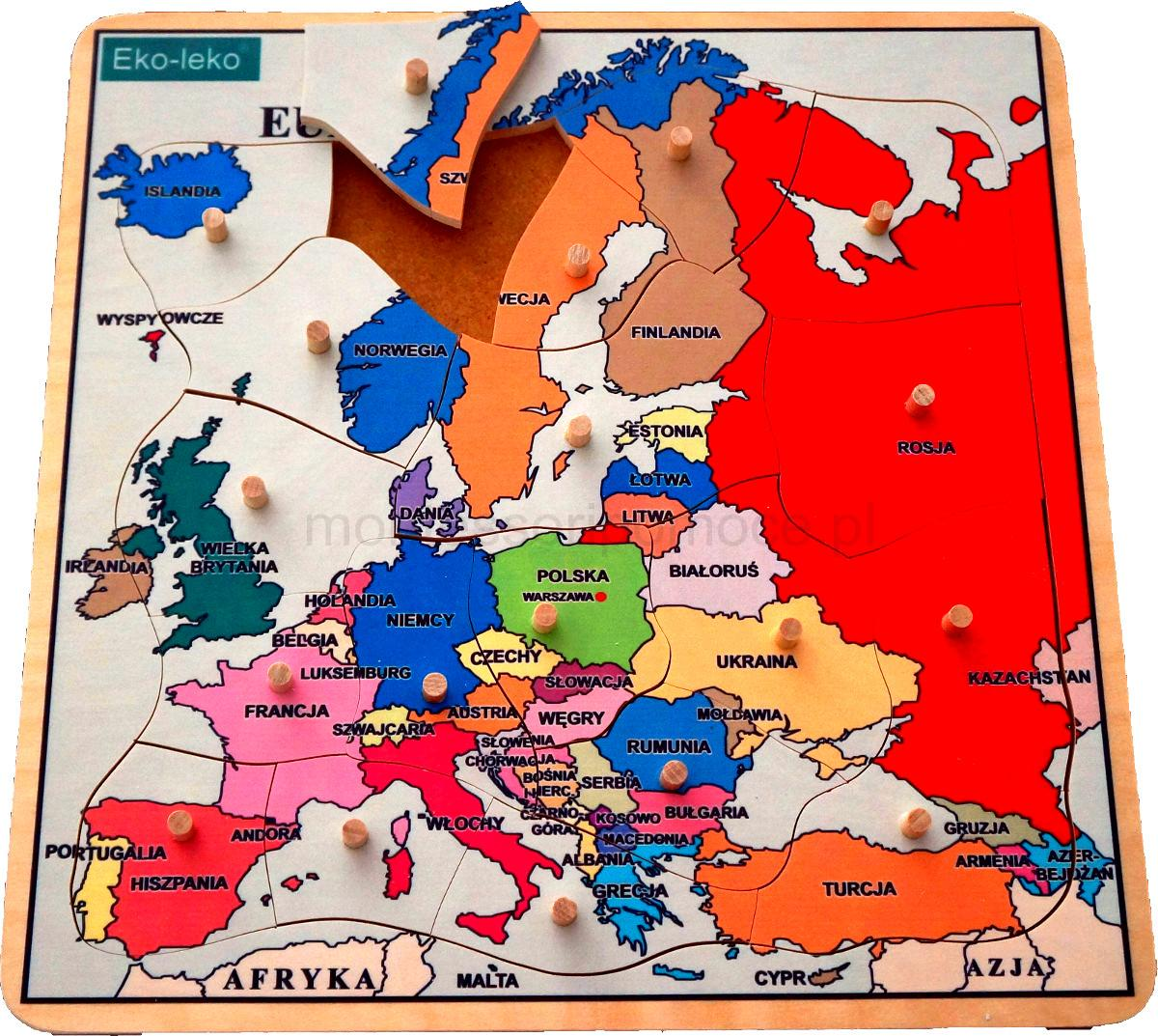 Mapa Europy Puzzle Montessori